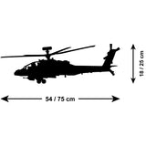 Apache Helicopter Wall Sticker - Size Guide