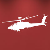 Apache Helicopter Wall Sticker - White