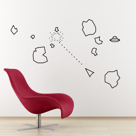 Asteroids Wall Sticker - Black