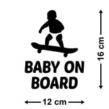 Baby On Board Car Sticker - Size Guide