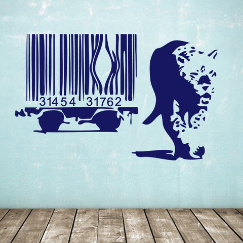 Banksy Barcode Leopard Wall Sticker - Dark Blue
