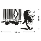 Banksy Barcode Leopard Wall Sticker - Size Guide