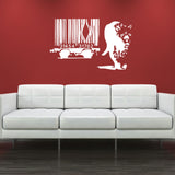 Banksy Barcode Leopard Wall Sticker - White