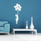Banksy Flying Balloon Girl Wall Sticker - White