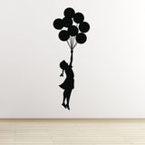 Banksy Flying Balloon Girl Wall Sticker - Black