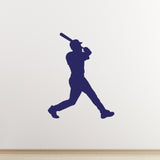 Baseball Hitter Wall Sticker - Dark Blue