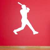 Baseball Hitter Wall Sticker - White