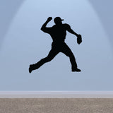 Baseball Pitcher Wall Sticker - Black
