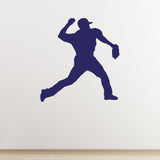 Baseball Pitcher Wall Sticker - Dark Blue
