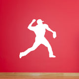 Baseball Pitcher Wall Sticker - White