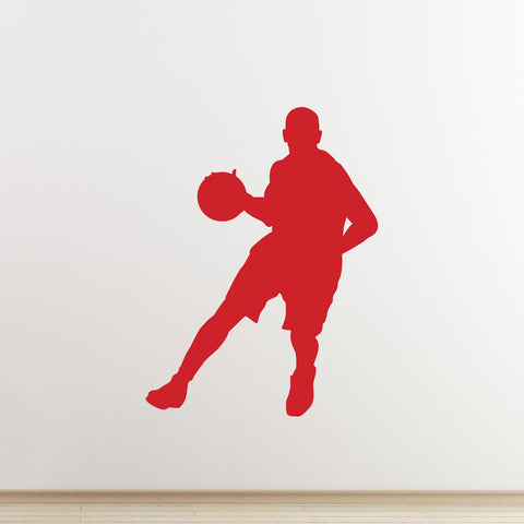 Basketball Wall Sticker - Dribble Silhouette - Red