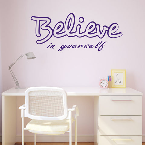 Believe In Yourself Wall Sticker - Purple