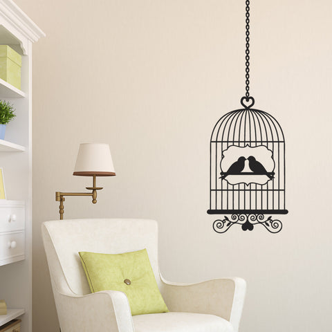 Bird Cage Wall Sticker - Black