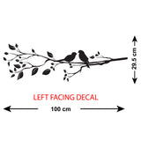Birds On A Branch Wall Sticker - Left Facing - Size Guide