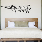 Birds On A Branch Wall Sticker - Right Facing - Black
