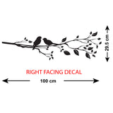 Birds On A Branch Wall Sticker - Right Facing - Size Guide