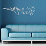Birds On A Branch Wall Sticker - Right Facing - Silver
