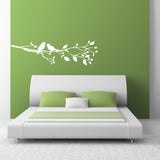 Birds On A Branch Wall Sticker - Right Facing - White