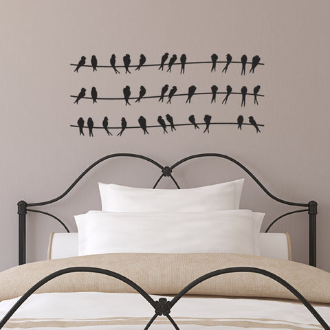Birds On A Wire Wall Sticker - Black