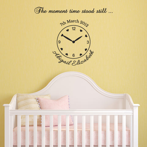 Birth Date Clock Wall Sticker - The Moment Time Stood Still