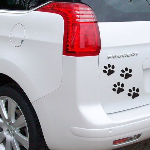Black Paw Print Car Stickers - Pack of 12
