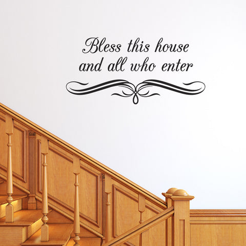 Bless This House Wall Sticker - Flourish Under Text