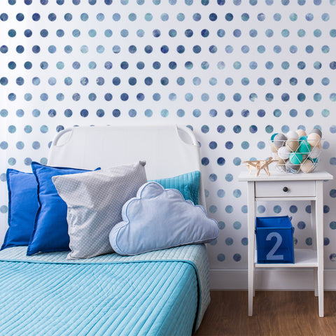 Small Polka Dot Seamless Pattern Stencil in boys room