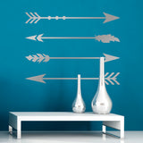 ZygoMax Large Arrow Wall Sticker Set in silver