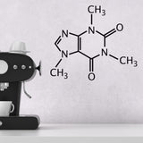 Caffeine Molecule Wall Sticker - Black Vinyl