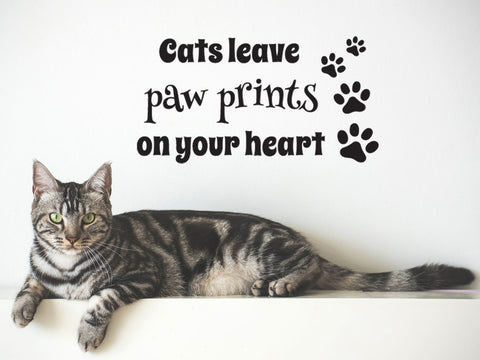 Cats Leave Paw Prints On Your Heart Wall Sticker - Black