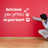 Cats Leave Paw Prints On Your Heart Wall Sticker - White