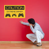 Caution Extreme Gamer Wall Sticker - Three Controllers