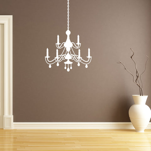 Chandelier Wall Sticker - French Baroque Style - White