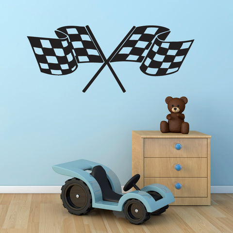 Chequered Flag Wall Sticker - Boys Racing Bedroom Decal