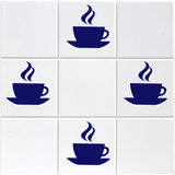 Coffee Cup Tile Stickers - Pack of 12 - Dark Blue