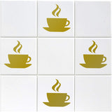 Coffee Cup Tile Stickers - Pack of 12 - Gold