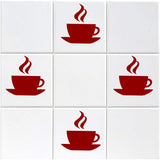 Coffee Cup Tile Stickers - Pack of 12 - Red