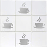 Coffee Cup Tile Stickers - Pack of 12 - Silver
