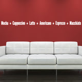 Coffee Names Wall Sticker - White