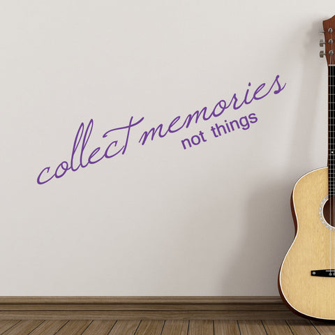 Collect Memories Not Things Wall Sticker - Purple