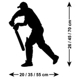 Cricketer Wall Sticker - Batsman Standing - Size Guide