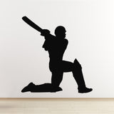 Cricket Wall Sticker - Batsman Hitting for Six - Black