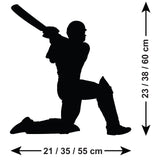 Cricket Wall Sticker - Batsman Hitting for Six - Size Guide