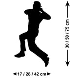 Cricket Wall Sticker - Spin Bowler - Size Guide