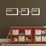 Ctrl Alt Del Wall Sticker - White