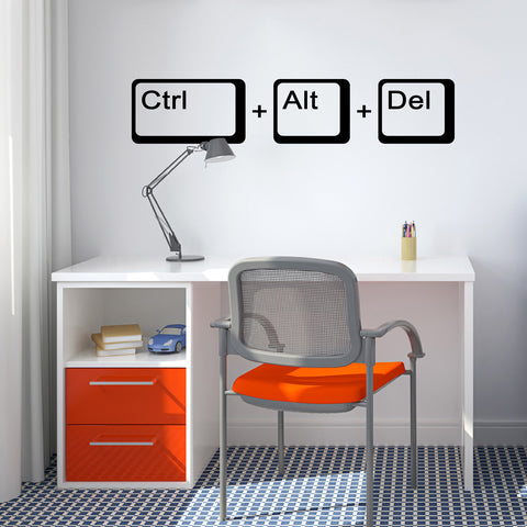 Ctrl Alt Del Wall Sticker - Black