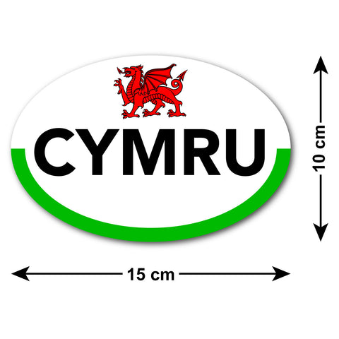 Cymru Car Sticker with Welsh Flag