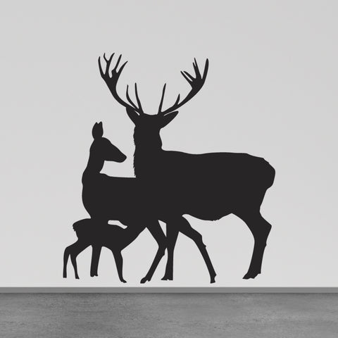 Deer Family Wall Sticker - Black