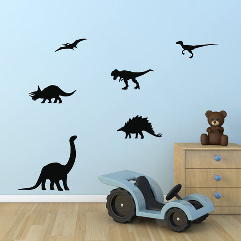Dinosaur Silhouette Wall Stickers - Black