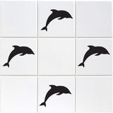 Dolphin Tile Stickers - Pack of 18 - Black